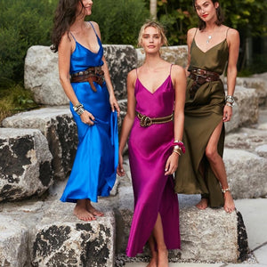 ZHYMIHRET 2019 Spring Split Satin Long Dress Women Sexy V Neck Party Dress Elegant Backless Beach Vestidos Mujer Robe Pull