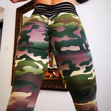 Load image into Gallery viewer, Camo Printing Leggings Put Hip Fold Elastic High Waist Legging Breathable Slim Pants