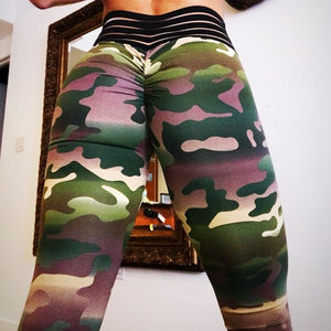 Camo Printing Leggings Put Hip Fold Elastic High Waist Legging Breathable Slim Pants