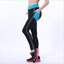 Load image into Gallery viewer, Splicing Style Leggings Put Hip Fold Elastic High Waist Legging Breathable Slim Pants