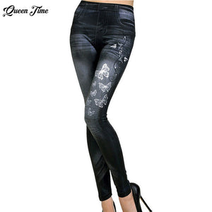 Women New Fashion Classic Stretchy Slim Leggings Sexy imitation Jean Skinny Jeggings Skinny Pants big size bottoms hot sale