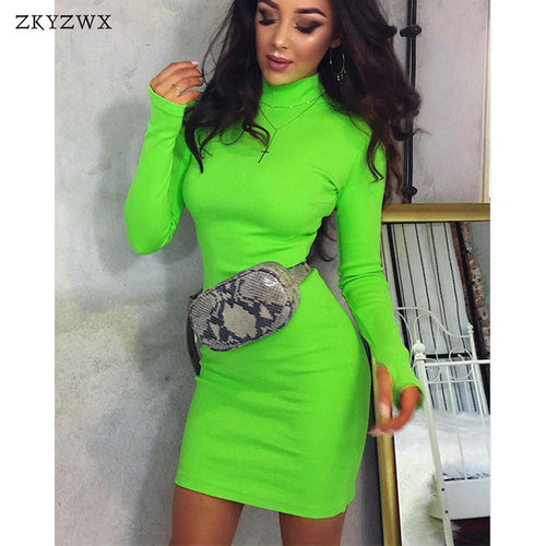 ZKYZWX Spring Turtleneck Long Sleeve Bodycon Dress Womens Elegant Slim Knitted Clothes Neon Green Casual Party Dresses Vestidos