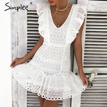 Load image into Gallery viewer, Simplee Elegant cotton embroidery women summer dress Ruffled high waist korean white dress Vintage sexy v-neck party mini dress