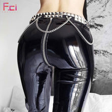 Load image into Gallery viewer, Women Sexy Shiny PU leather Leggings with Back Zipper Push Up Faux Leather Pants Latex Rubber Pants Jeggings Black Red