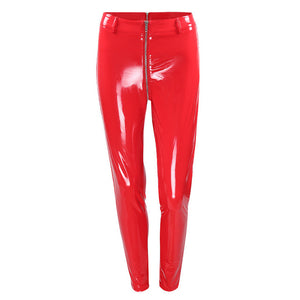 Women Sexy Shiny PU leather Leggings with Back Zipper Push Up Faux Leather Pants Latex Rubber Pants Jeggings Black Red
