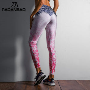 NADANBAO Women Leggings Mandala Flower Digital Print Slim Pink Fitness Woman Leggins Workout Plus Size High Waist Pants