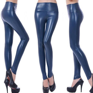 CUHAKCI Women Hot Sexy Black Wet Look Faux Leather Leggings Slim Shiny Pants Plus size S M L XL XXL