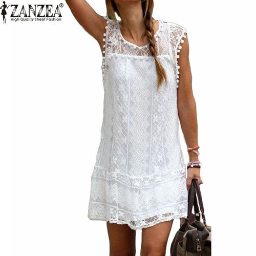 ZANZEA Vestidos 2019 Summer Elegant Women Casual Solid Short Sleeve Slim Lace Mini Dress Tops Ladies Sexy White Dress Plus Size