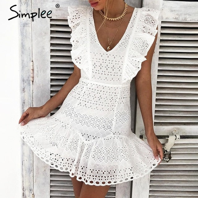 Simplee Elegant cotton embroidery women summer dress Ruffled high waist korean white dress Vintage sexy v-neck party mini dress