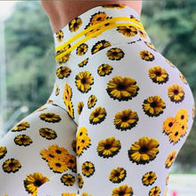 Load image into Gallery viewer, Women sunflower Print Leggings Push Up Elastic Workout Adventure Time Fitness leggings High Waist Bodybuilding Pants