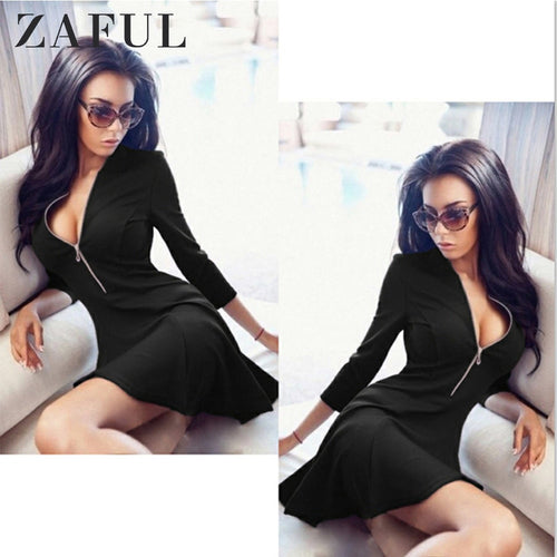 ZAFUL On Sale Sexy Skater Dress Summer Women Zipper Dress Deep V Neck A Line Mini Vestidos Sexy Club Party Dresses 2019