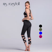 Load image into Gallery viewer, Spring Summer Casual Women Leggings High Elastic  High Waist Elastic Legins Tie Up Sportings Leggins Trousers For Women
