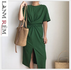 LANMREM 2019 Summer  New Solid Color Loose Round Neck Natural Waist Vintage Split The Fork Fashion Women Dress E4100