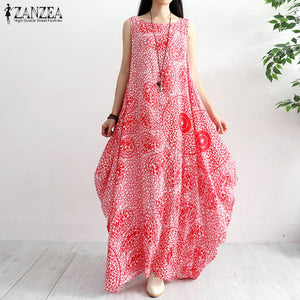 ZANZEA 2019 Women's Summer Sundress Female Print Maxi Dresses Women Sleeveless Long Vestido Plus Size Robe Femme Party Dress 5XL