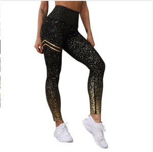 New Hotsale Women Gold Print Leggings No Transparent Exercise Fitness Leggings Patchwork Push Up Female Pants
