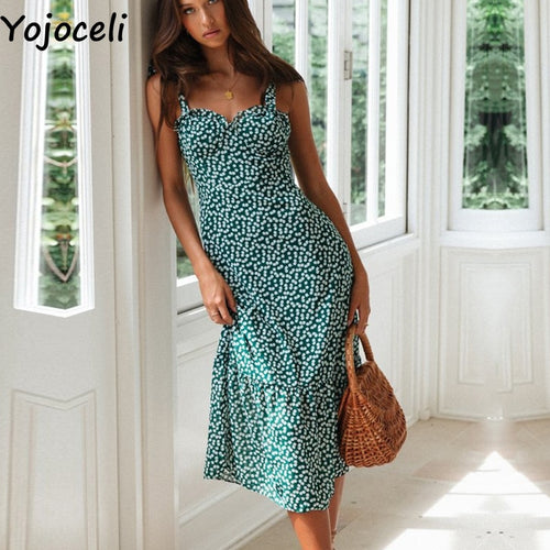 Yojoceli Sexy ruffle floral print long dress women Summer elegant strap chiffon sundress Bow beach casual dress vestidos