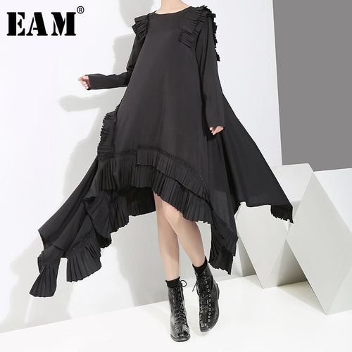 [EAM] 2019 New Spring  Summer Round Neck Long Sleeve Ruffles Split Joint Irregular Hem Loose Dress Women Fashion Tide JI045