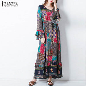 ZANZEA 2019 Women Autumn O Neck Long Butterfly Sleeve Floral Print Flouncing Belt Loose Casual Party Maxi Long Dress Plus Size