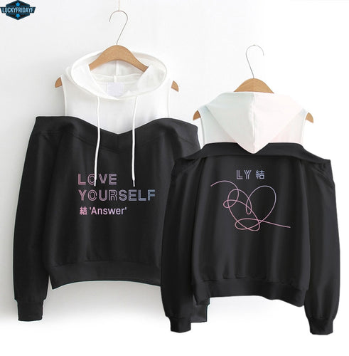 KPOP album color pattern printing women's fashion hip hop casual hood long-sleeved off-shoulder sweatershirt XS-XXL WY18 kpop