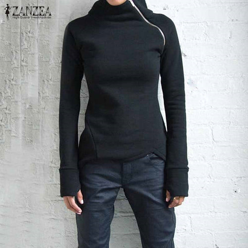 New Women Casual Solid Long Sleeve Pullovers Hoodies Turtleneck Slim Fit Zippers 2019 Autumn Sweatshirts Plus Size