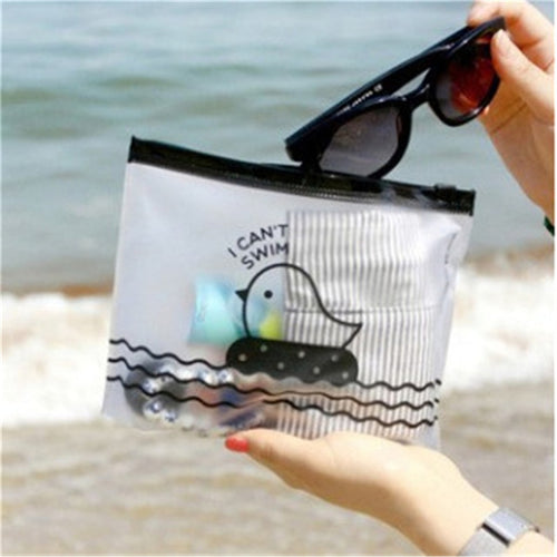 1 PCS Cute Chicken Semi-Transparent PVC Plastic Travel Make Up Cosmetic Swiming Bags Outdoor Holders
