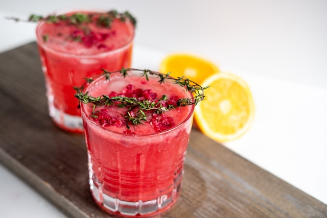Raspberry Mocktails with rosemary