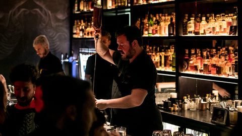 NIO Cocktails Head and professional mixologist Patrick Pistolesi Making a Cocktail