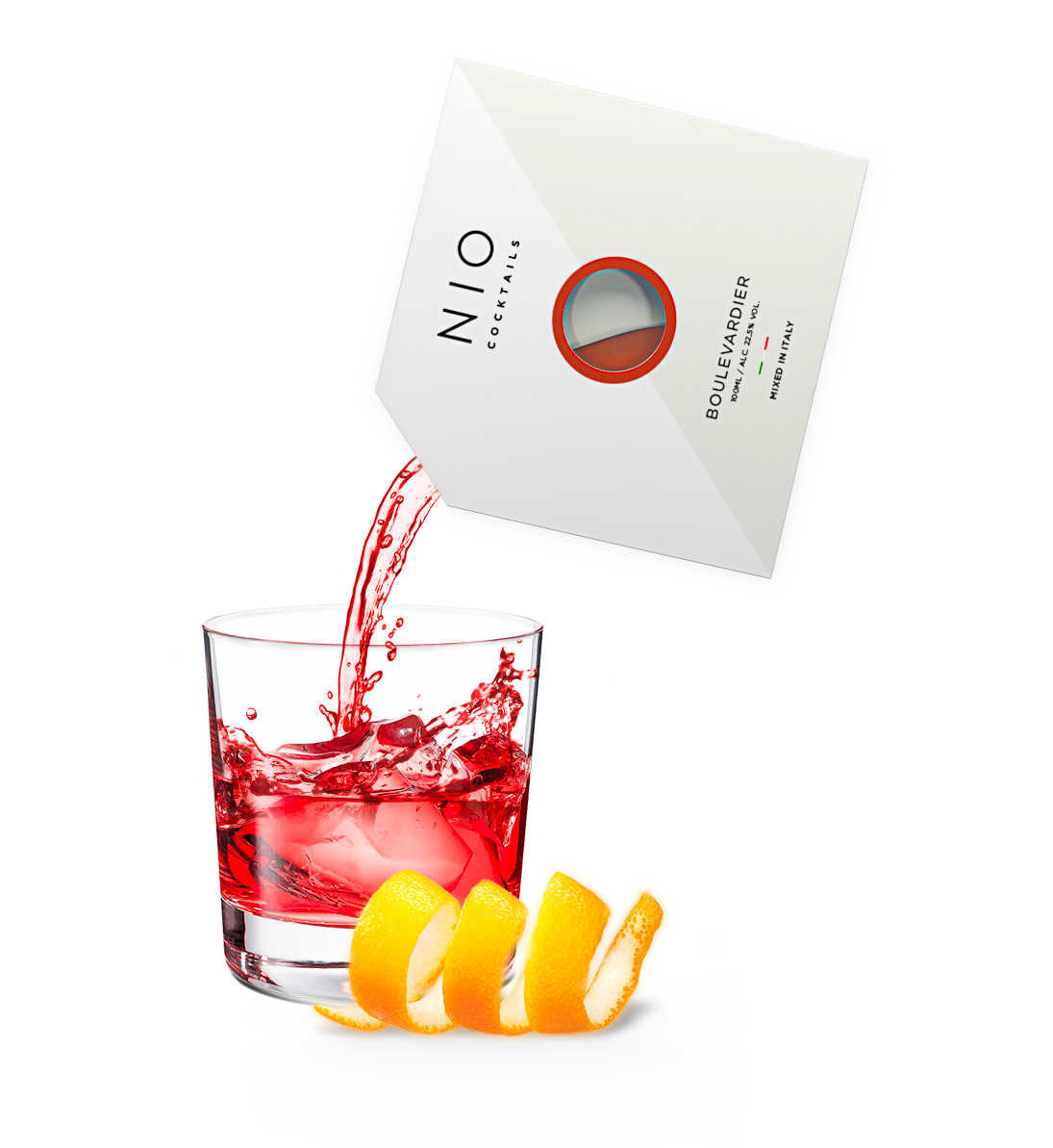 pouring easy to serve boulevardier cocktail into glass with ice and orange by NIO Cocktails UK