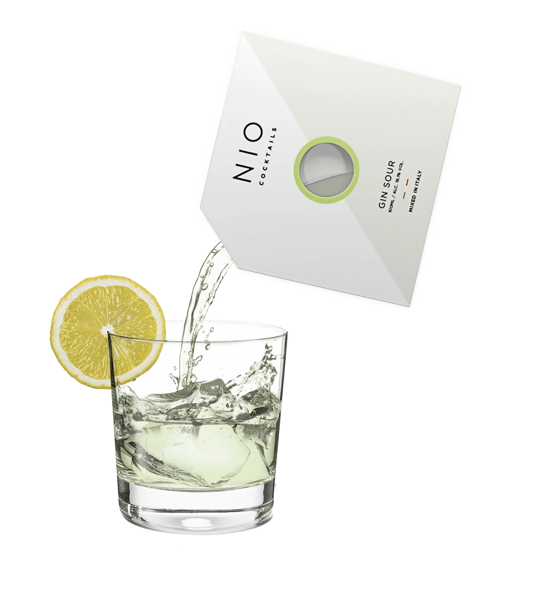 pouring easy to serve cocktail into glass with ice and lemon by NIO Cocktails UK