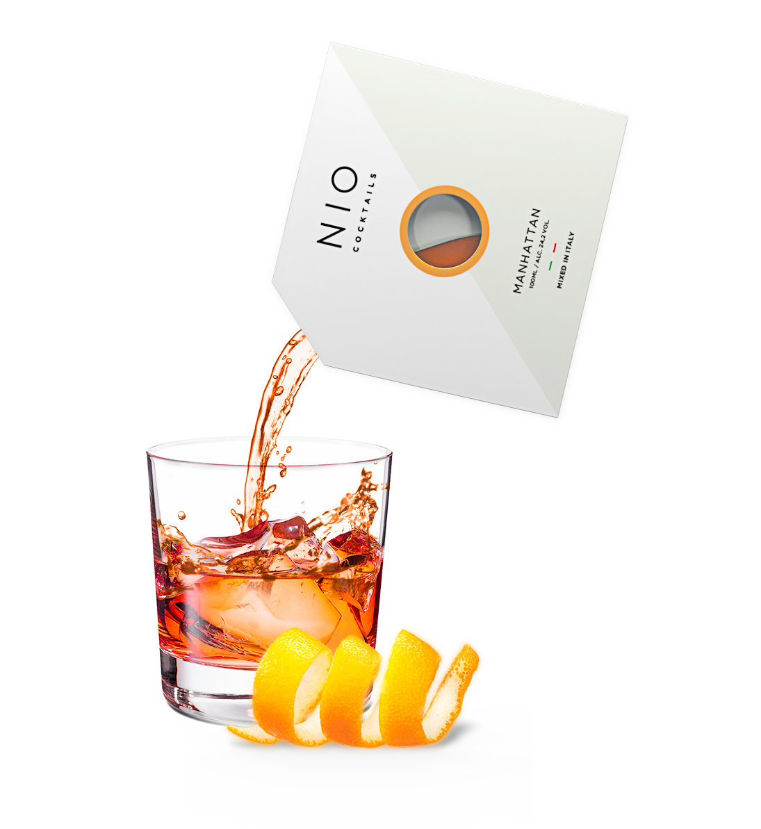 pouring easy to serve manhattan cocktail into glass with ice and orange by NIO Cocktails UK