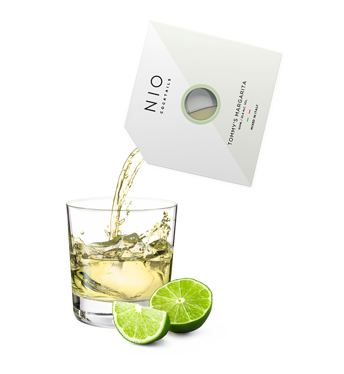 pouring easy to serve margarita cocktail into glass with ice and lime by NIO Cocktails UK