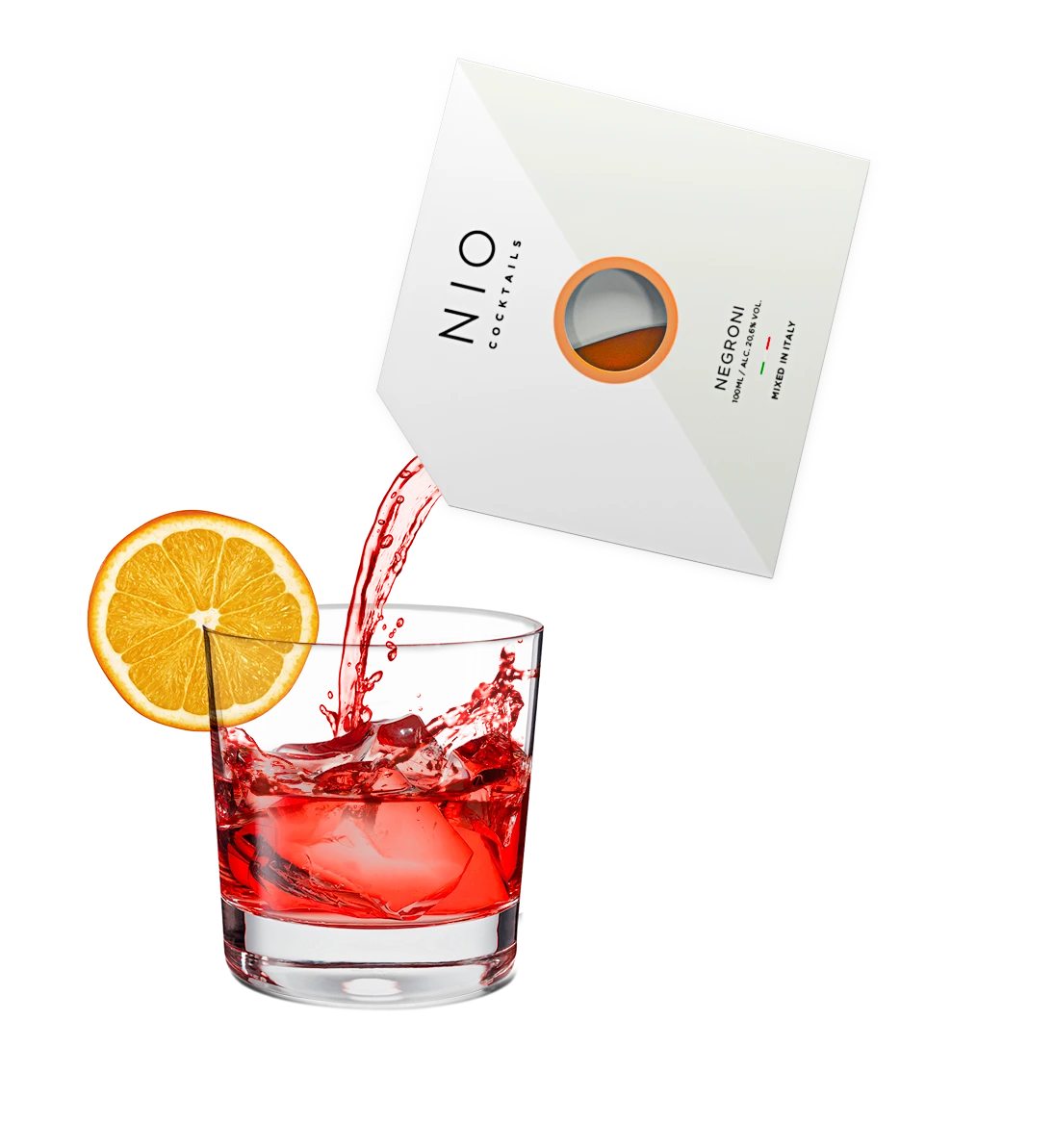 pouring easy to serve negroni cocktail into glass with ice and orange by NIO Cocktails UK