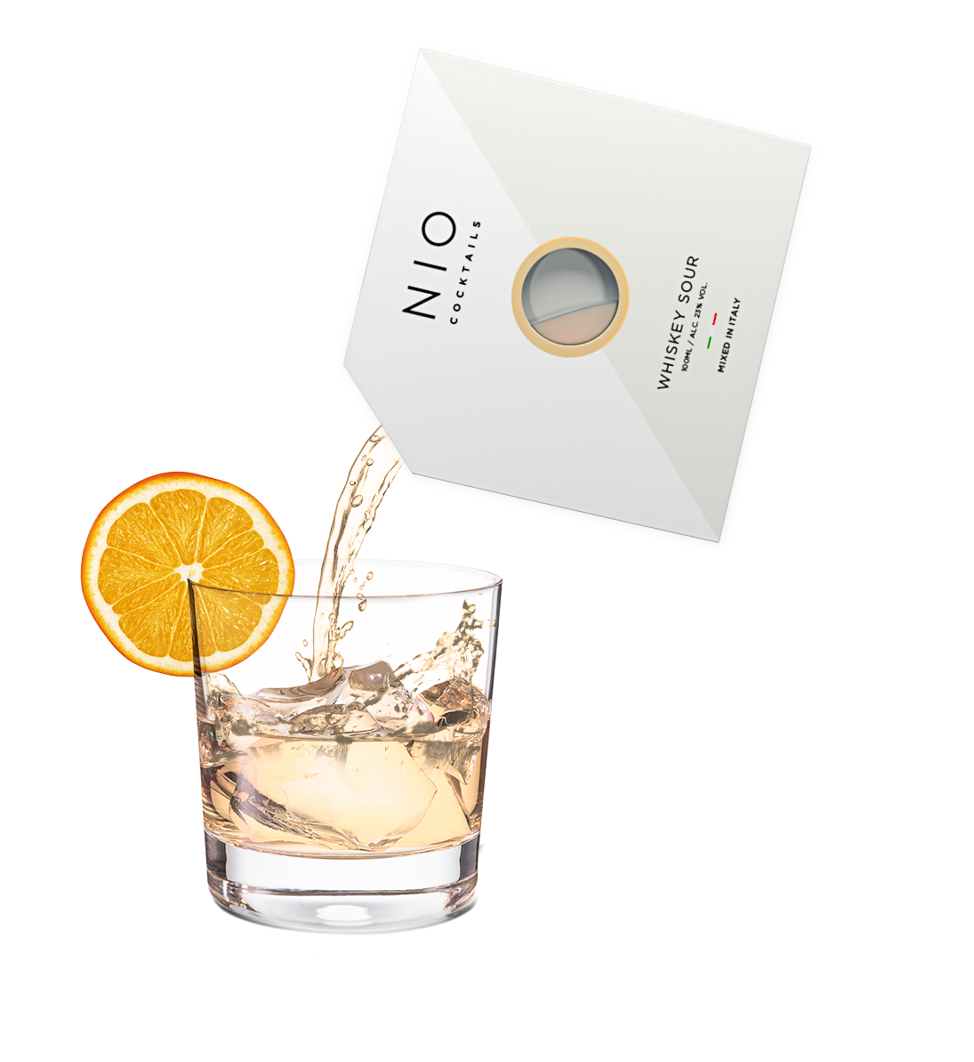 pouring easy to serve whiskey sour cocktail into glass with ice and orange by NIO Cocktails UK