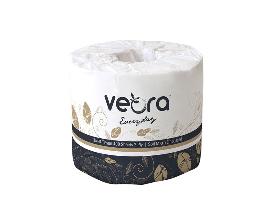 Veora 22003F Everyday Micro Embossed Toilet Tissue  400 Sheets | 2-Ply