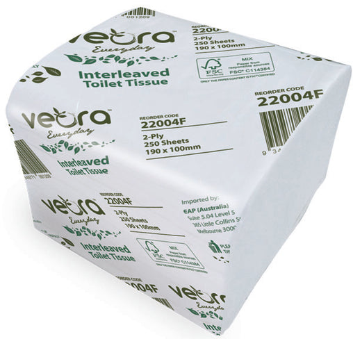 Veora 22004F Everyday Interleaved Toilet Tissue 250 Sheets 2 Ply