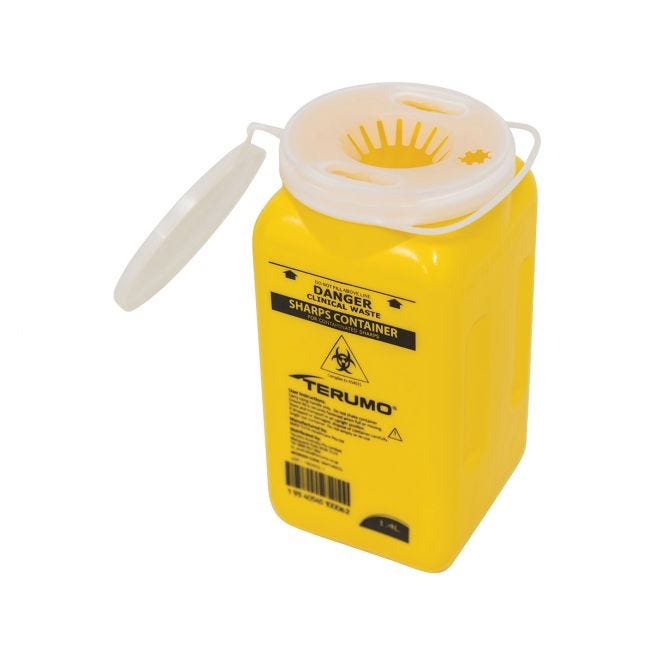 Terumo Sharps Container Bin Screw Lid 1.4L Sharps Containers 158045