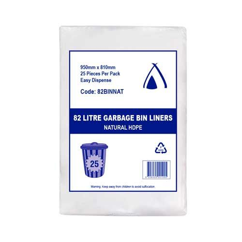 Heavy Duty Bin Liners - Natural Garbage Bags 82L CLEAR 250 per carton 82BINNAT