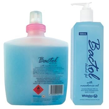 Whiteley Bactol Alcohol Gel - 500ml 1L TGA Approved