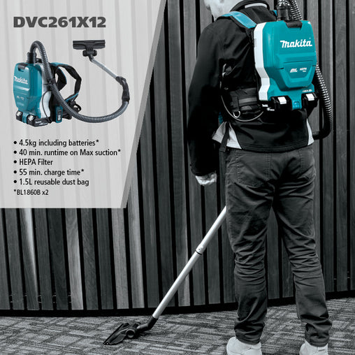 DVC261X12 18Vx2 BRUSHLESS Backpack Vacuum