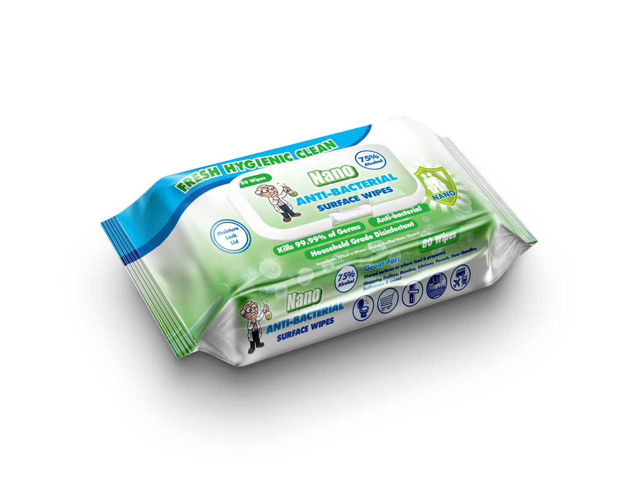 Nano Anti-Bacterial Alcohol Surface Wipes 80 Wipes