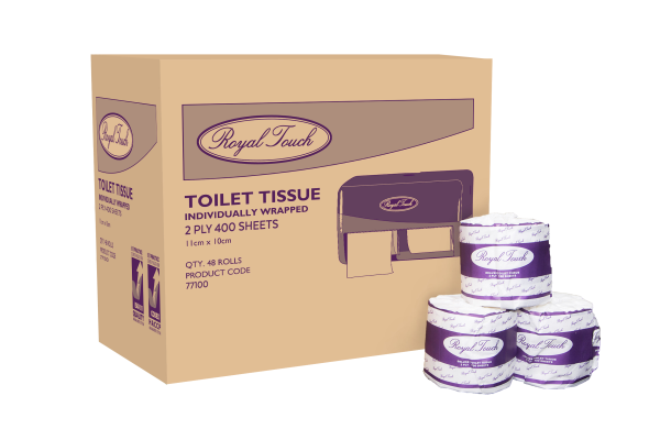 RT 77100 Individually Wrapped Premium Toilet Paper 2ply 400 Sheet Rolls 48/Carton