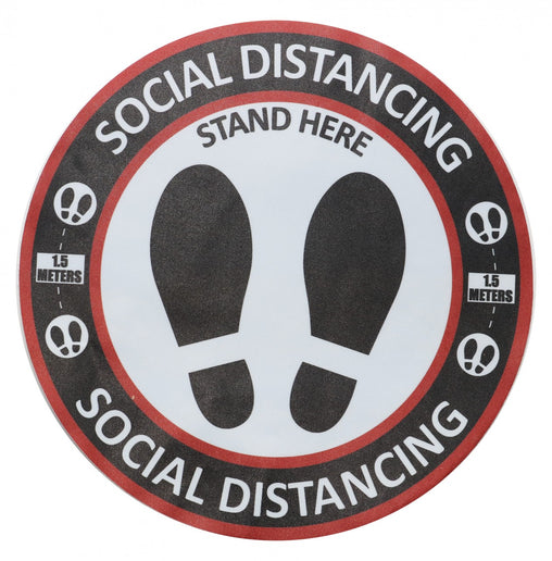 "Social Distancing Signage 10 Pk (Round Floor Decal 30cm) ""Stand Here"""