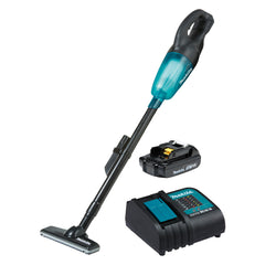 Makita DCL180B 18V Stick Vacuum, black housing, high performance filter, transparent capsule