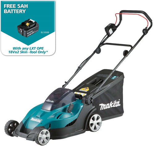 "Makita DLM431 36V (18Vx2) Li-ion Lawn Mower 430mm (17""), 2 blade, catcher level indicator"