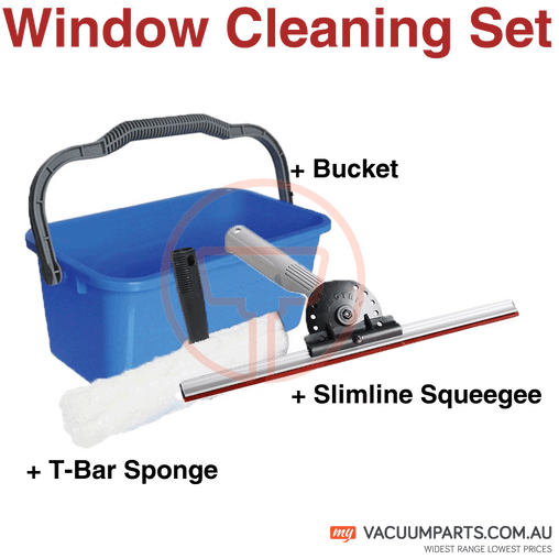 Window Cleaning Tools - Bucket, Slimline Squeegee, T- Bar Sponge