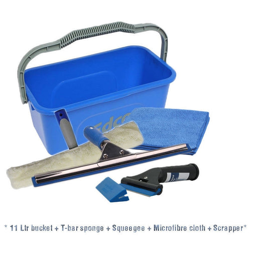 Window cleaning kit: 11ltr Bucket, Squeegee, T-bar, Scrapper & Microfibre cloth