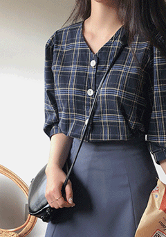 My Angel Plaid Puffed Blouse