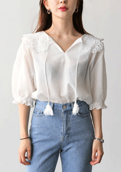 Clutha Lace Shoulder Cord Tassel Neck Blouse