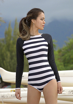 Long Sleeved Stripe Swimsuit