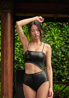 Unbalance Leather Onepiece